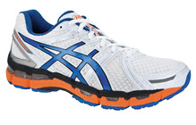 Asics Men's Gel Kayano 19 white/blue/neon orange